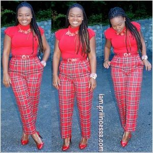 Pants - Vintage Red Plaid Pants